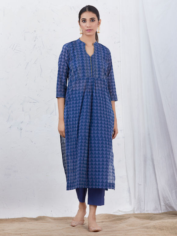 Blue Hand Block Printed Chanderi Kurta with Cotton Pants and Beige Zari Dupatta - Set of 3