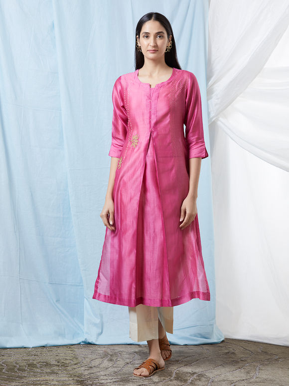 Pink Hand Embroidered Chanderi Cotton Kurta with Off White Cotton Pants and Gold Hand Block Printed Dupatta- Set of 3