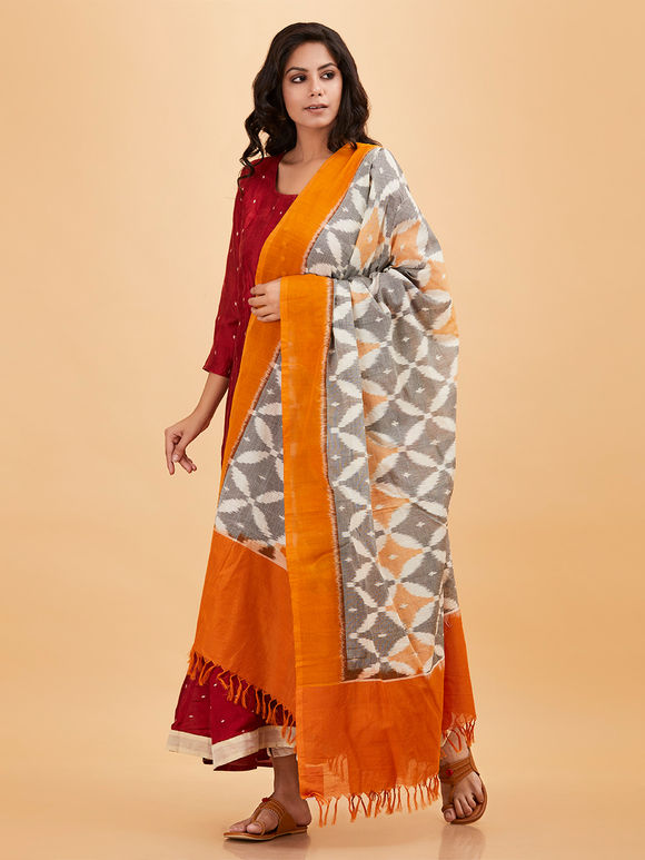 Grey Orange Cotton Ikat Dupatta