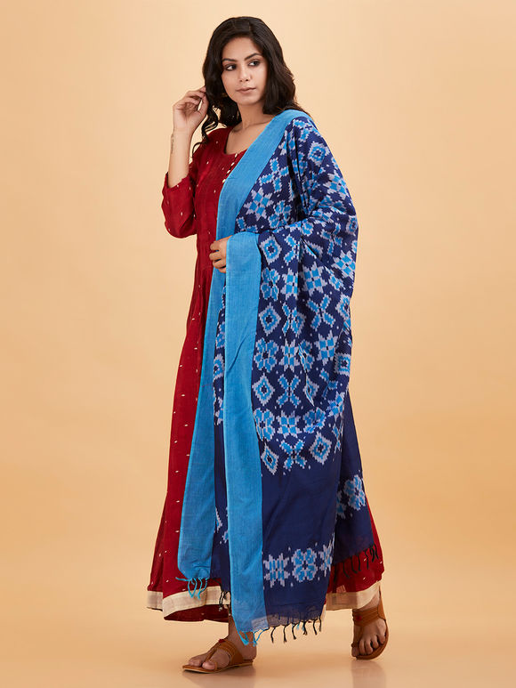 Blue Cotton Ikat Dupatta