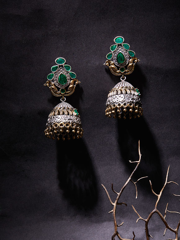 Dual Toned Handcrafted Brass Jhumkies