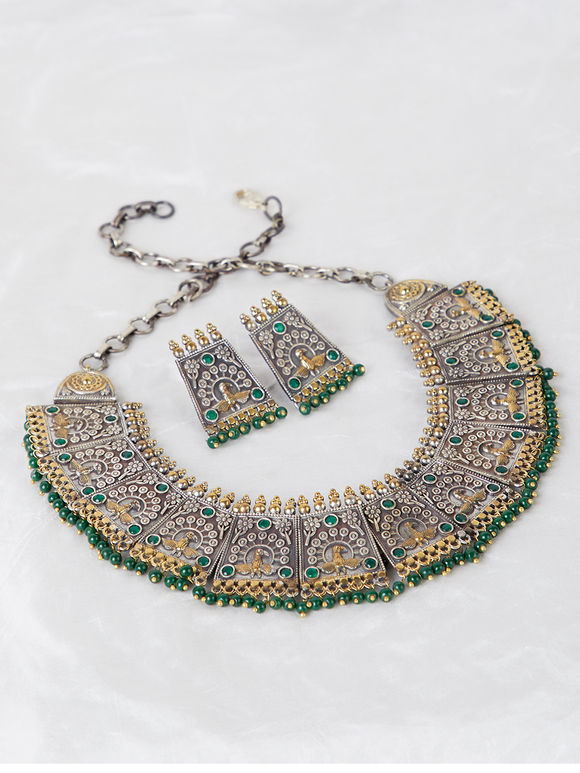 Dual Toned Handcrafted Brass Necklace with Earrings- Set of 2