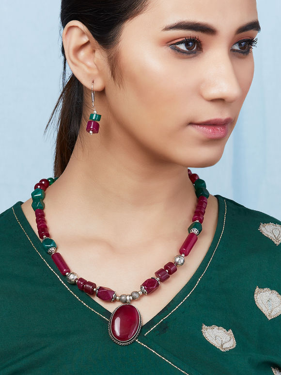 Green Pink Handcrafted Metal Stone Necklace with Earrings- Set of 2