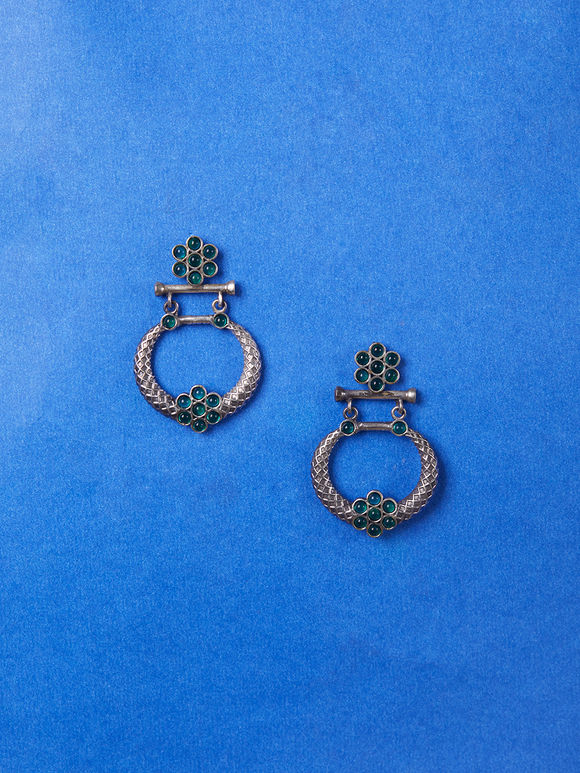 Dual Toned Green Handcrafted Brass Earrings