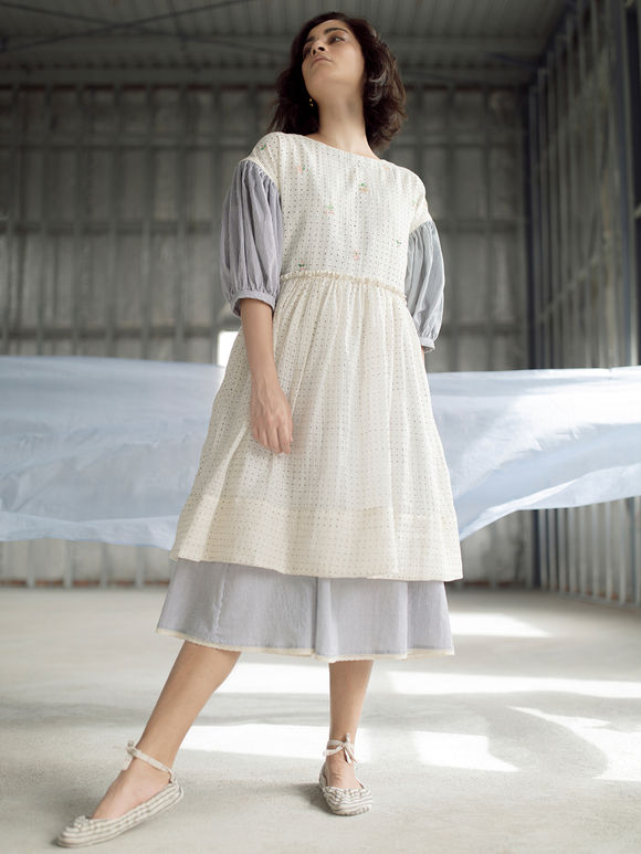 White Hand Block Printed Cotton Dress