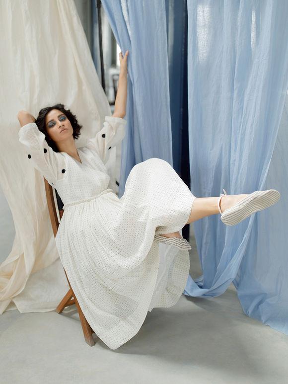 White Hand Block Printed Cotton Angrakha Dress