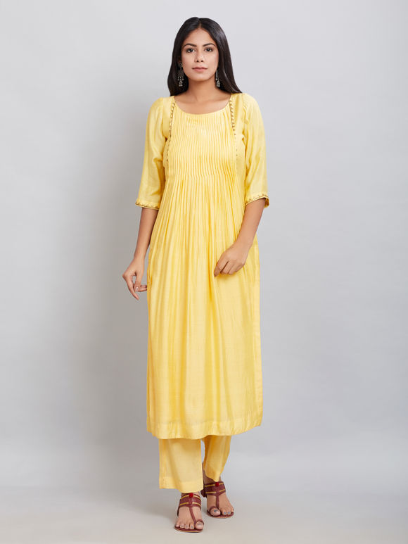 Yellow Hand Embroidered Chanderi Silk Kurta with Modal Cotton Pants - Set of 2