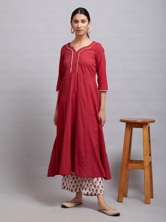 Red Cotton Kalidar Gota Kurta with Off White Hand Block Printed Palazzo and Mulmul Dupatta- Set of 3