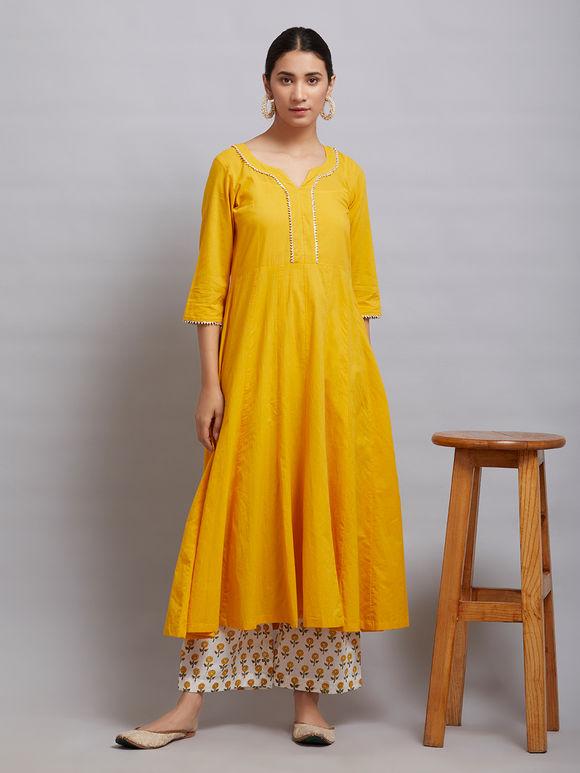 Yellow Cotton Kalidar Gota Kurta with Off White Hand Block Printed Palazzo and Mulmul Dupatta- Set of 3