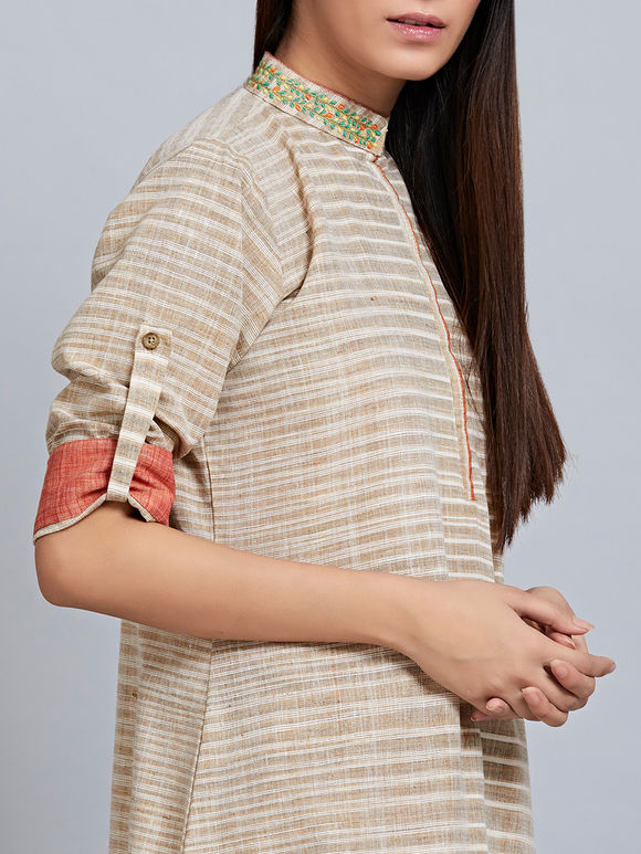 Beige Striped Khadi Cotton Embroidered Kurta
