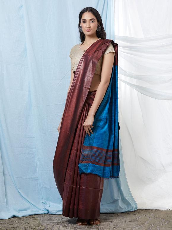 Wine Blue Khadi Silk Saree