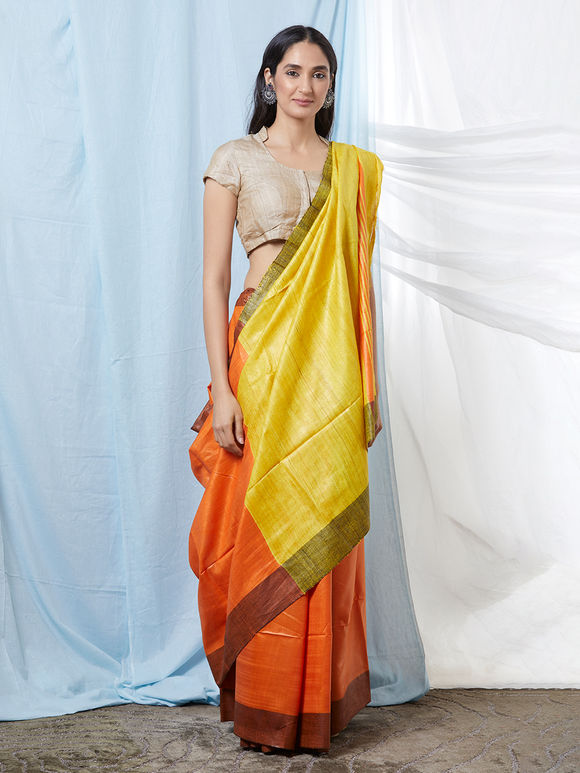 Orange Yellow Khadi Silk Saree