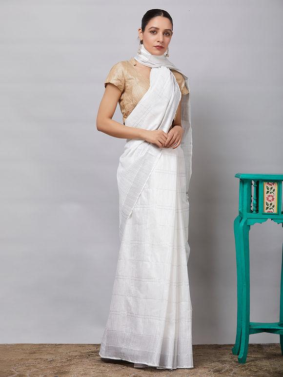White Cotton Linen Zari Saree