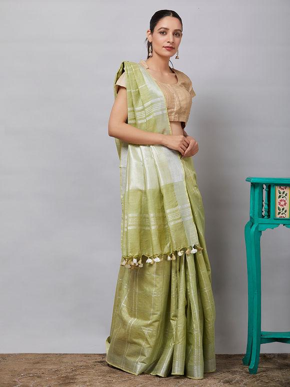 Green Cotton Linen Zari Saree