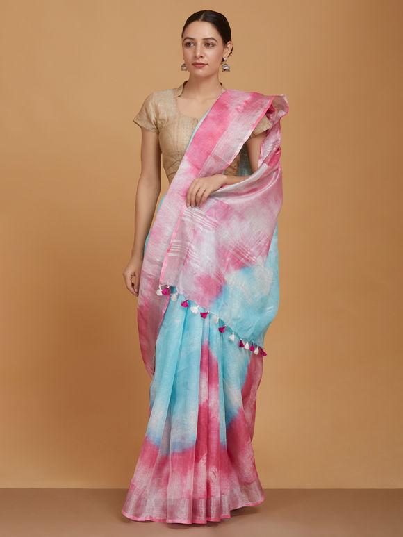 Sky Blue Pink Ombre Khadi Linen Saree