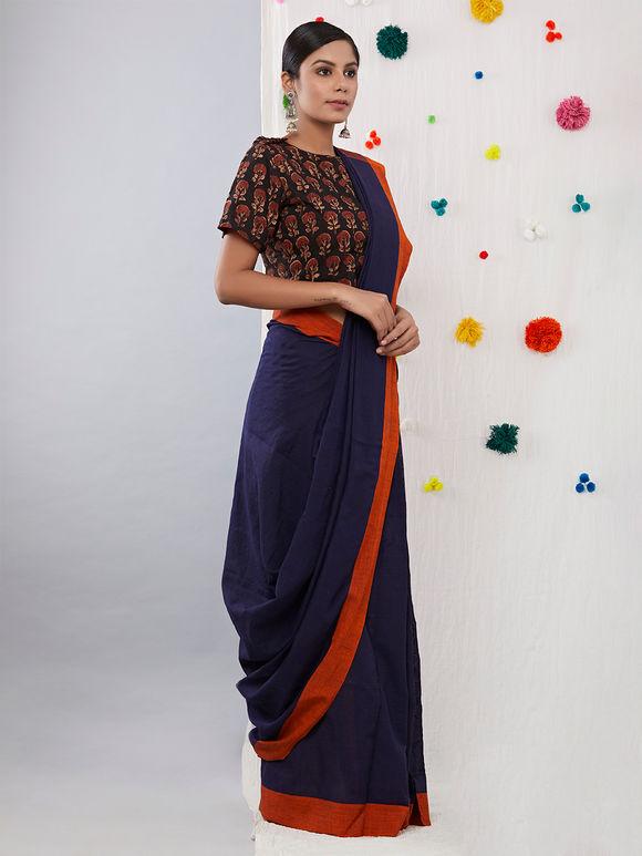 Navy Blue Orange Khadi Cotton Saree