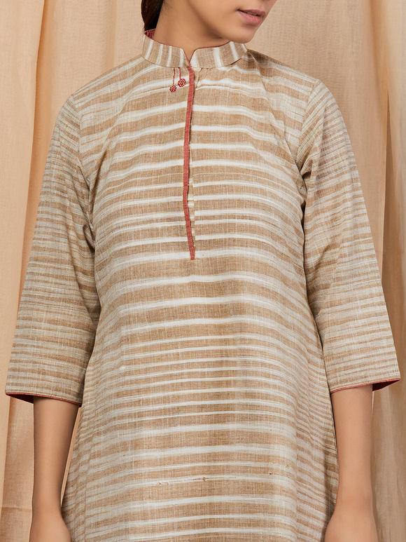 Beige Khadi Cotton Striped Dress