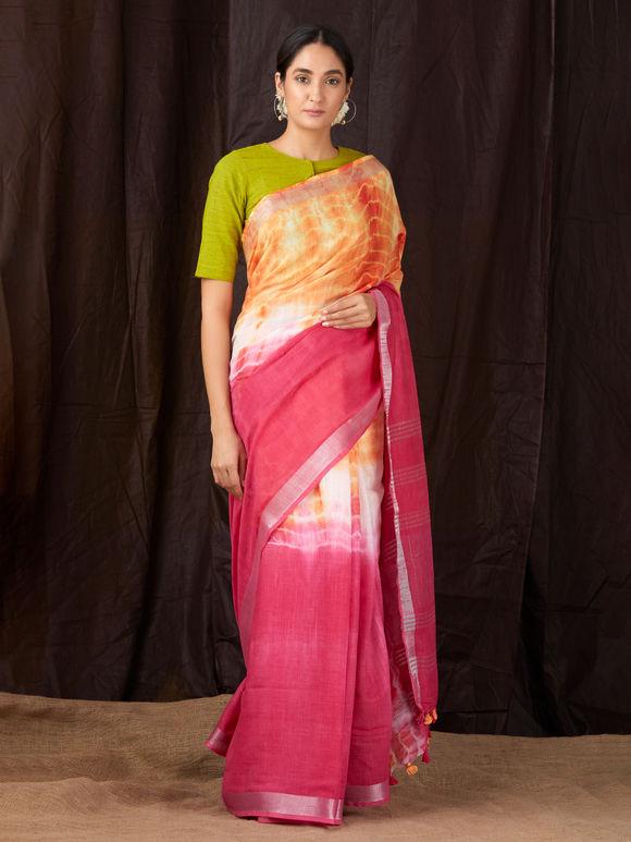 Pink Orange Tie and Dye Khadi Cotton Saree