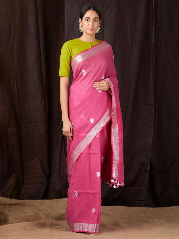 Pink Khadi Cotton Saree