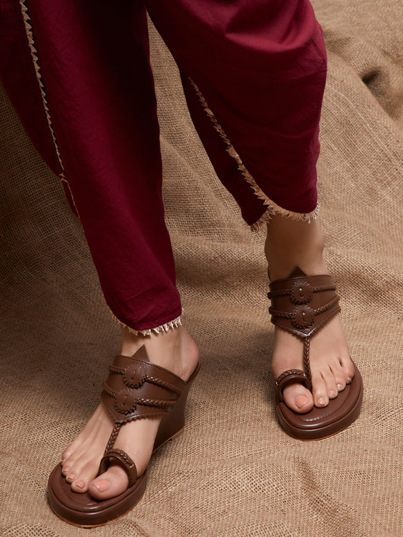 Tan Handcrafted Leather Wedges