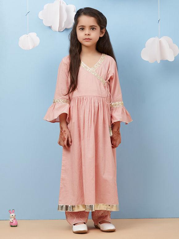 Pink Cambric Cotton Angrakha Kurta with Pants and Orange Dupatta - Set of 3