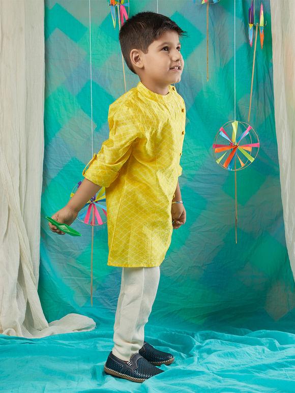 Yellow Shibori Chanderi Kurta with White Pajama -Set of 2