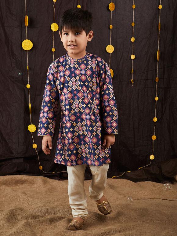 Blue Printed Cotton Silk Kurta with Off White Pyjama - Set of 2