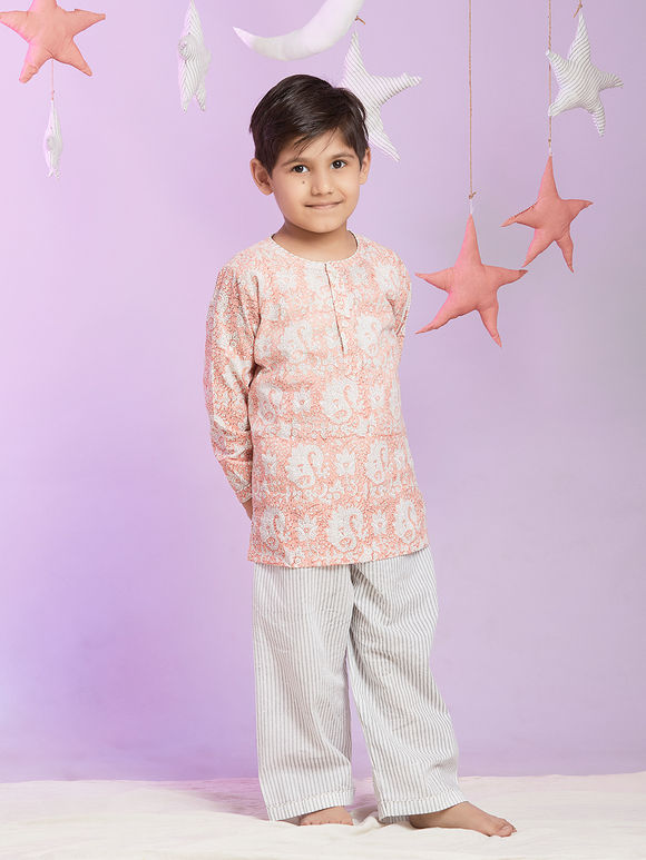 Pink Printed Cotton Night Suit for Kids