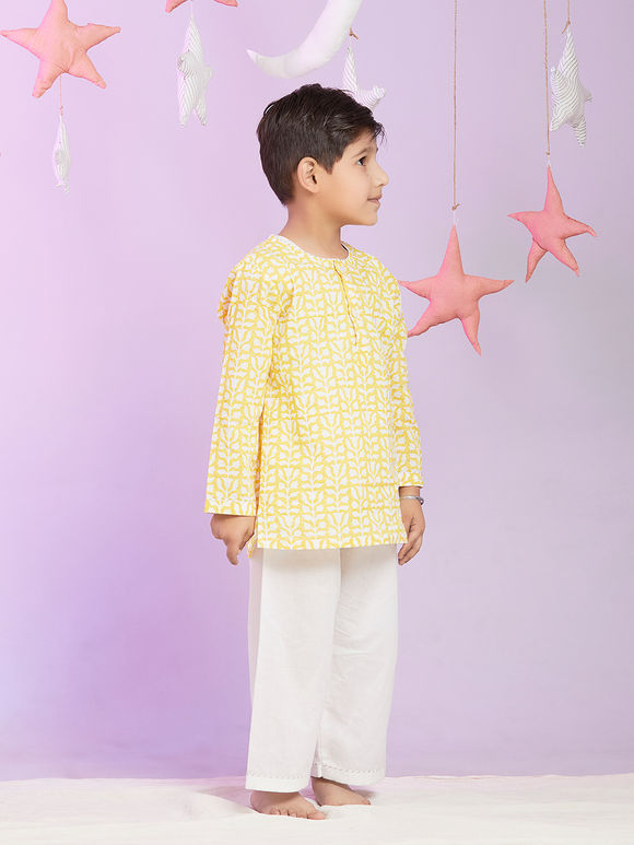 Yellow White Printed Cotton Night Suit for Kids