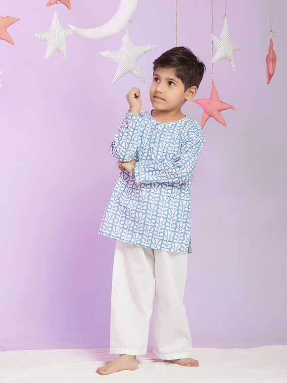 Powder Blue White Printed Cotton Night Suit for Kids