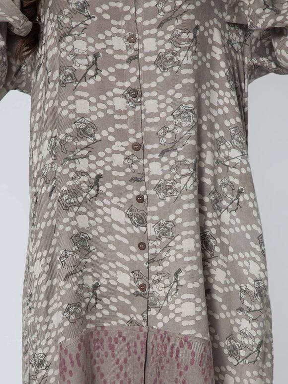Grey Hand Block Cotton Rayon Kurta