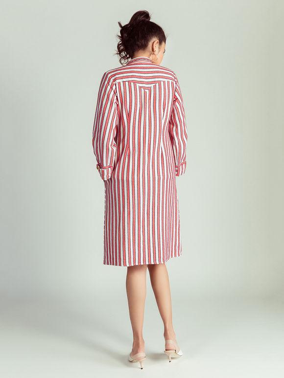 White Red Striped Jacquard Jacket cum Dress
