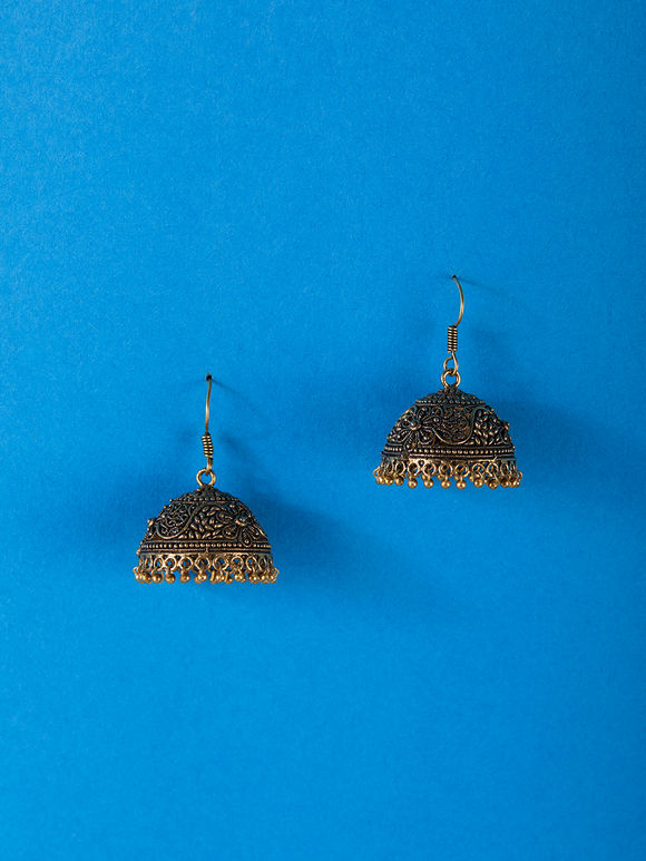 Gold Toned Handcrafted Brass Jhumkies