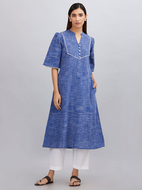 Blue Khadi Cotton A- line Kurta with White Pants - Set of 2