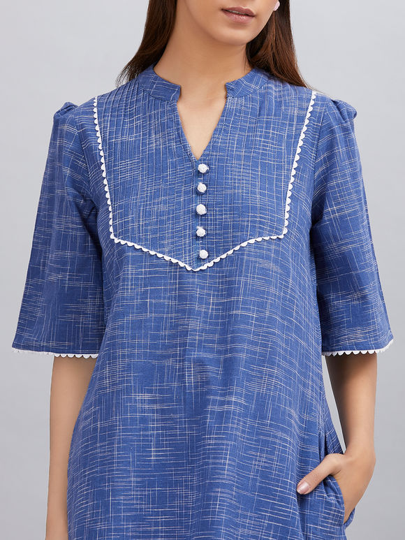 Blue Khadi Cotton A- line Kurta