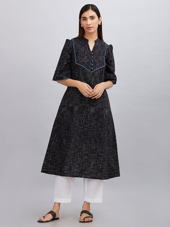 Black Khadi Cotton A- line Kurta with White Pants - Set of 2
