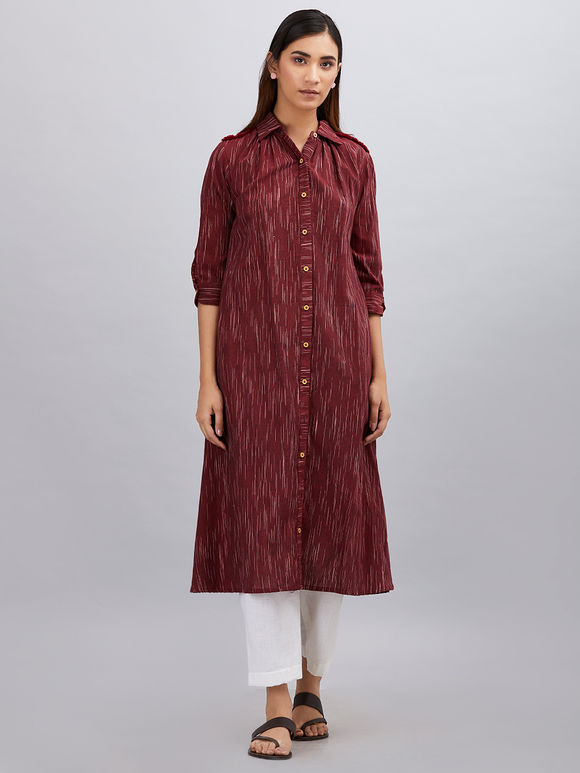 Maroon Khadi Cotton Kurta with White Pants - Set of 2