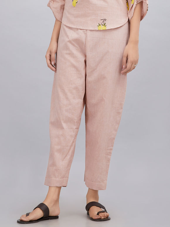 Old Rose Khadi Cotton Pants