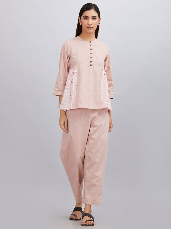 Old Rose Khadi Cotton Pleated Top with Pants - Set of 2