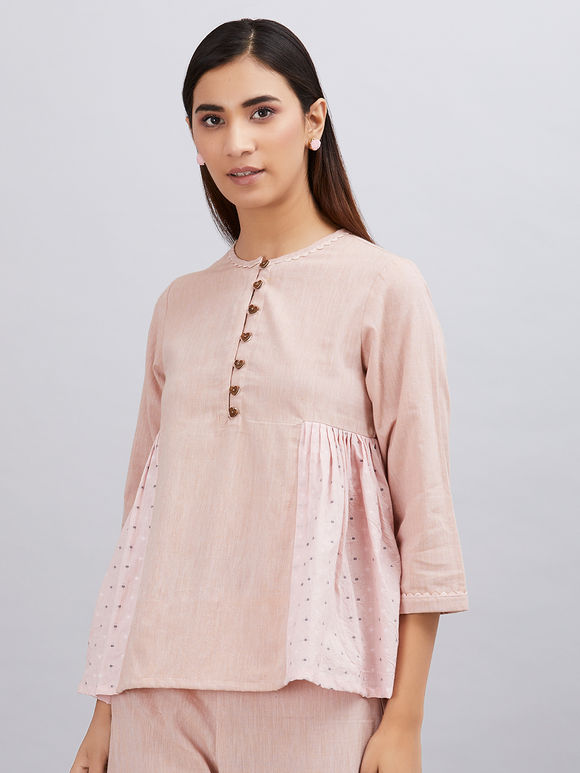 Old Rose Khadi Cotton Pleated Top