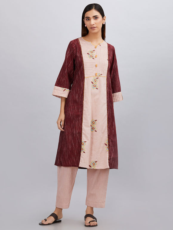 Maroon Old Rose Hand Block Printed Khadi Cotton Kurta with Pants - Set of 2