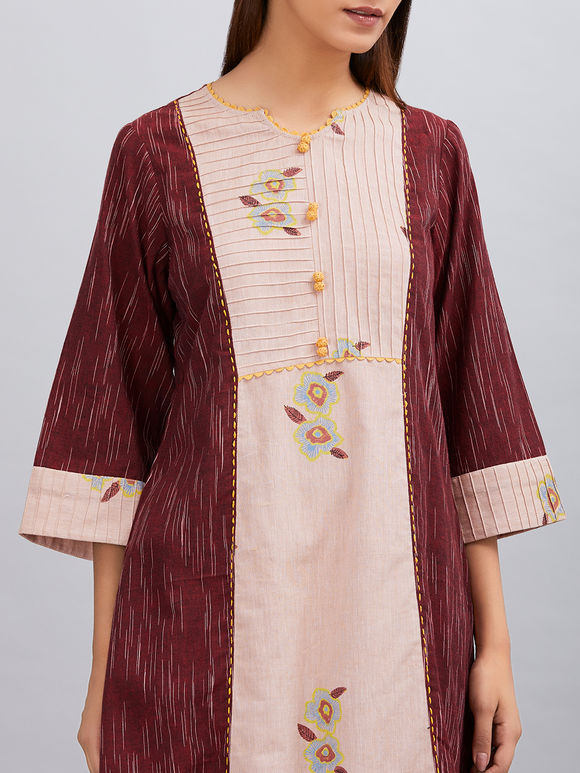 Maroon Old Rose Hand Block Printed Khadi Cotton Kurta