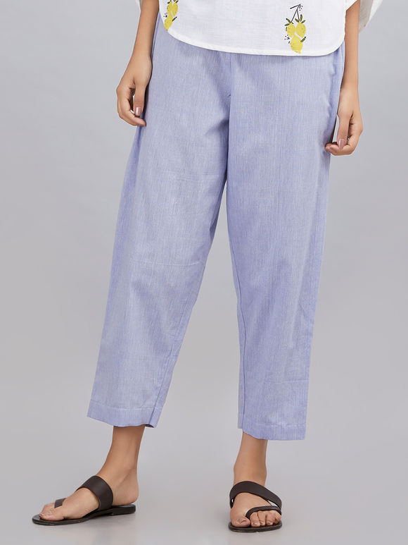 Powder Blue Khadi Cotton Pants