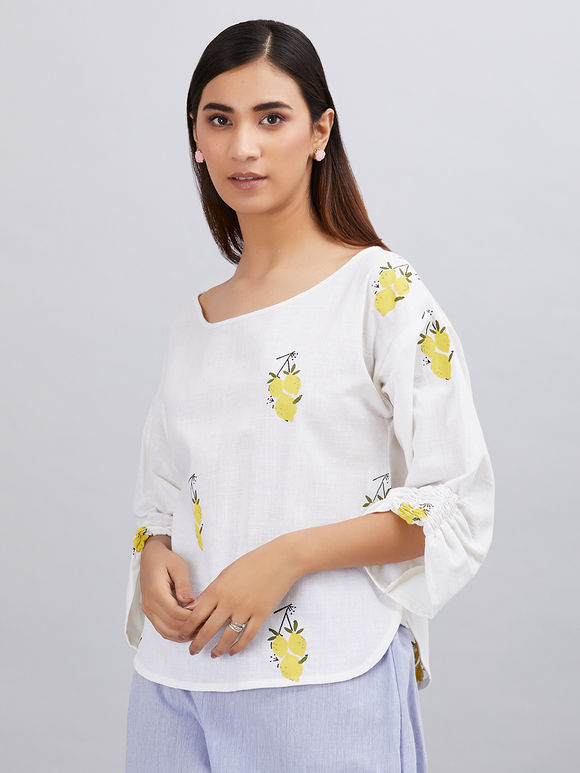 White Hand Block Printed Khadi Cotton Top