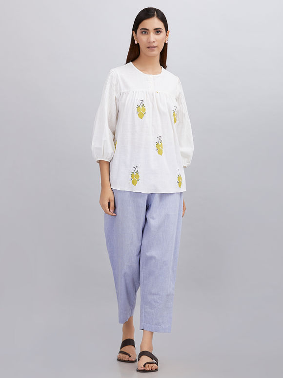 White Hand Block Printed Khadi Cotton Top with Powder Blue Pants - Set of 2