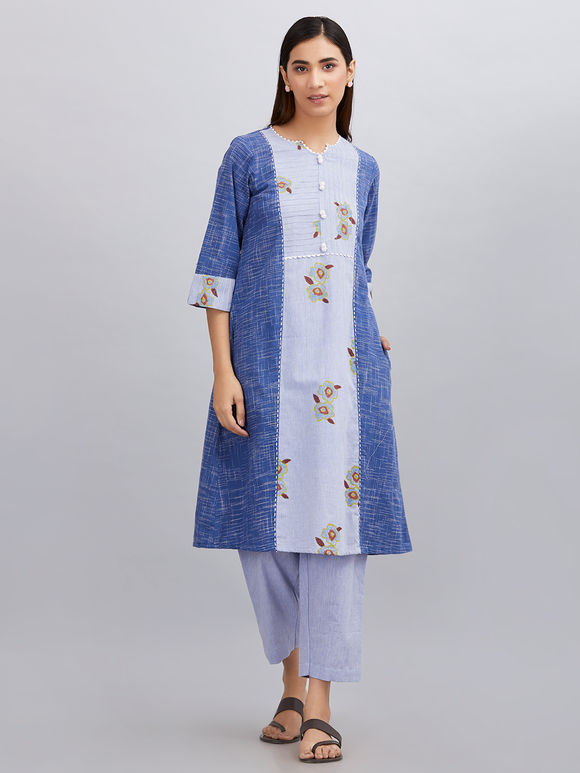 Blue Hand Block Printed Khadi Cotton Kurta with Pants - Set of 2