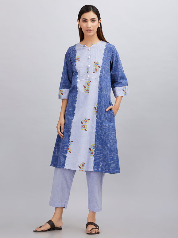 Blue Hand Block Printed Khadi Cotton Kurta