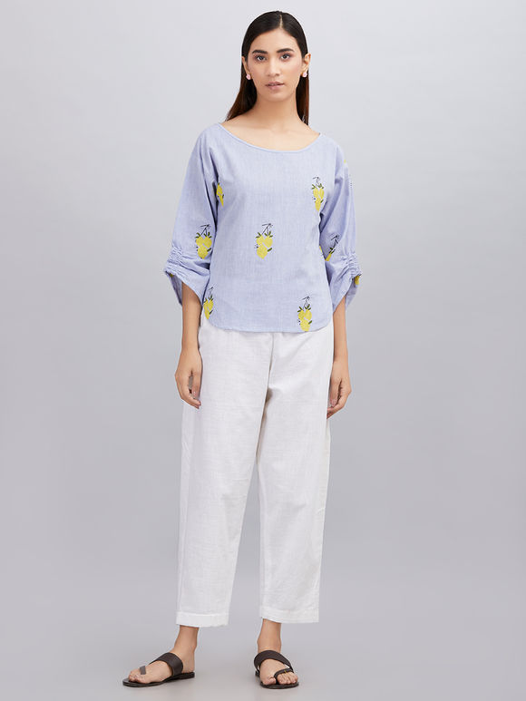 Powder Blue Hand Block Printed Khadi Cotton Top with White Pants - Set of 2