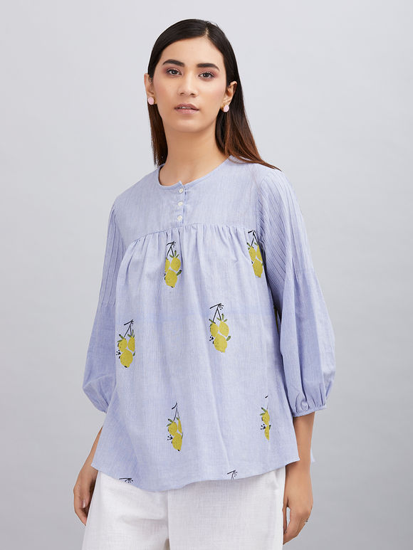 Powder Blue Hand Block Printed Khadi Cotton Top