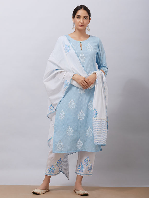 Sky Blue Hand Block Printed Cotton Kurta with White Pants and Mul Dupatta - Set of 3